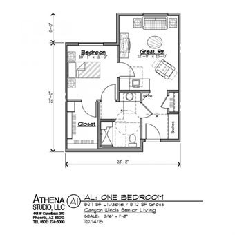 Assisted Living 1 Bedroom Apartment-Floorplans